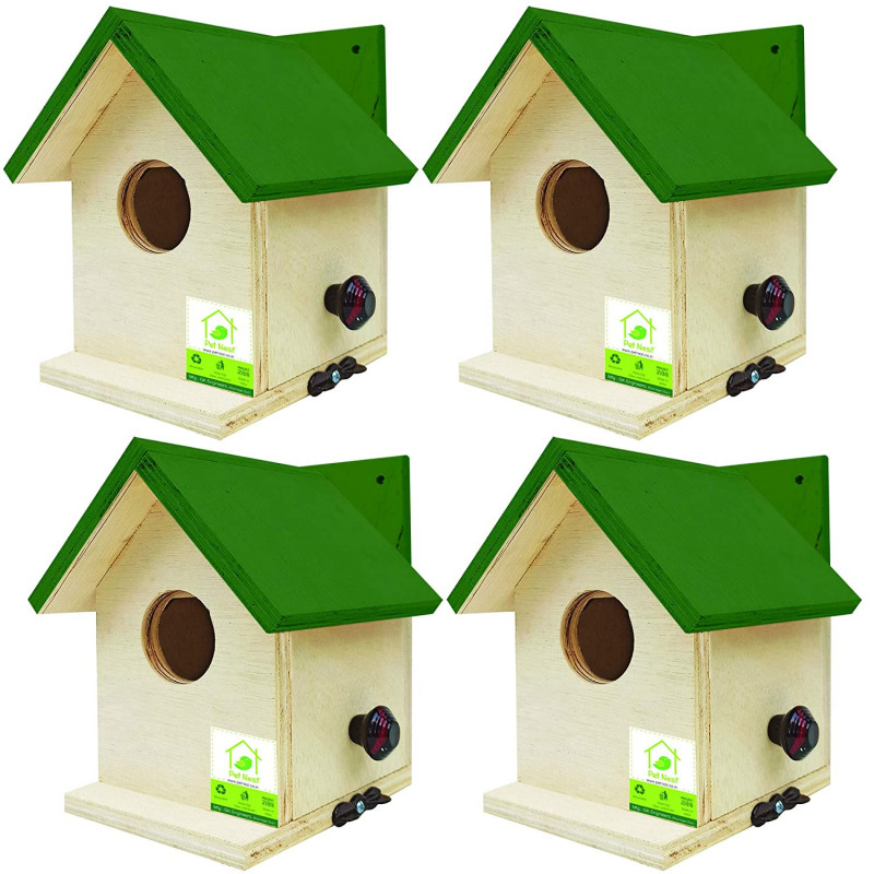 PetNest Bird House for Sparrow and tit Nestbox Home Shape Pack of 4 pcs